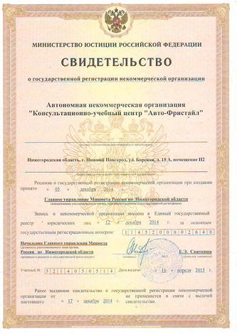 Свидетельство о гос. рег. некоммерческой орг.